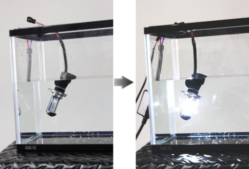 完全防水の為、水中での点灯も可能!